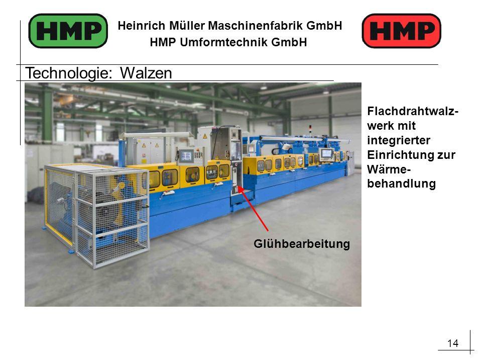 14 Heinrich Müller Maschinenfabrik GmbH HMP Umformtechnik GmbH Flachdrahtwalz- werk mit integrierter Einrichtung zur Wärme- behandlung Glühbearbeitung
