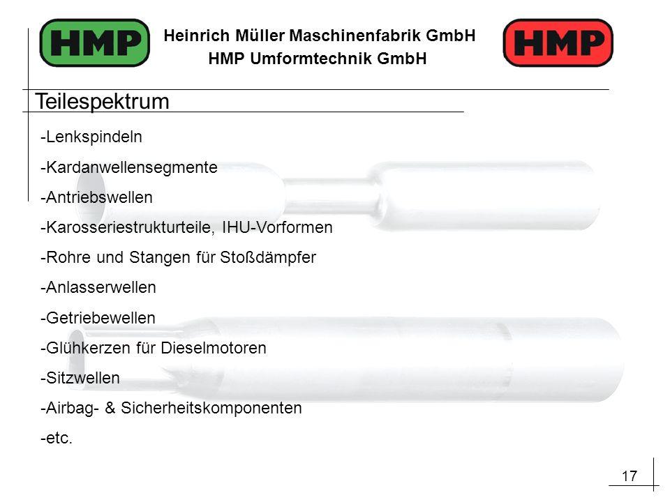 17 Heinrich Müller Maschinenfabrik GmbH HMP Umformtechnik GmbH Teilespektrum -Lenkspindeln -Kardanwellensegmente -Antriebswellen -Karosseriestrukturte
