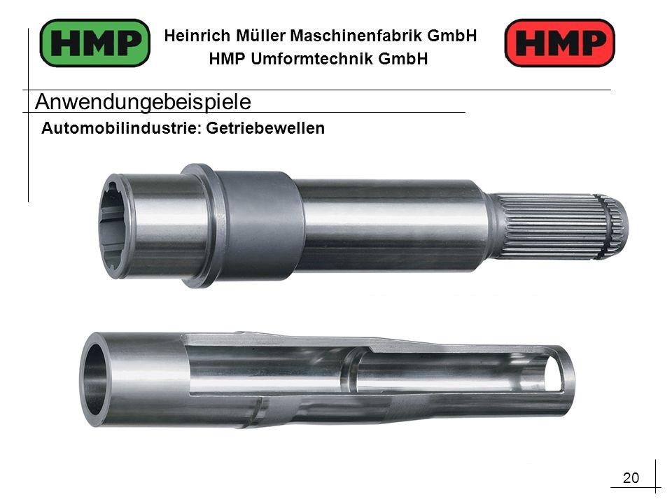 20 Heinrich Müller Maschinenfabrik GmbH HMP Umformtechnik GmbH Anwendungebeispiele Automobilindustrie: Getriebewellen
