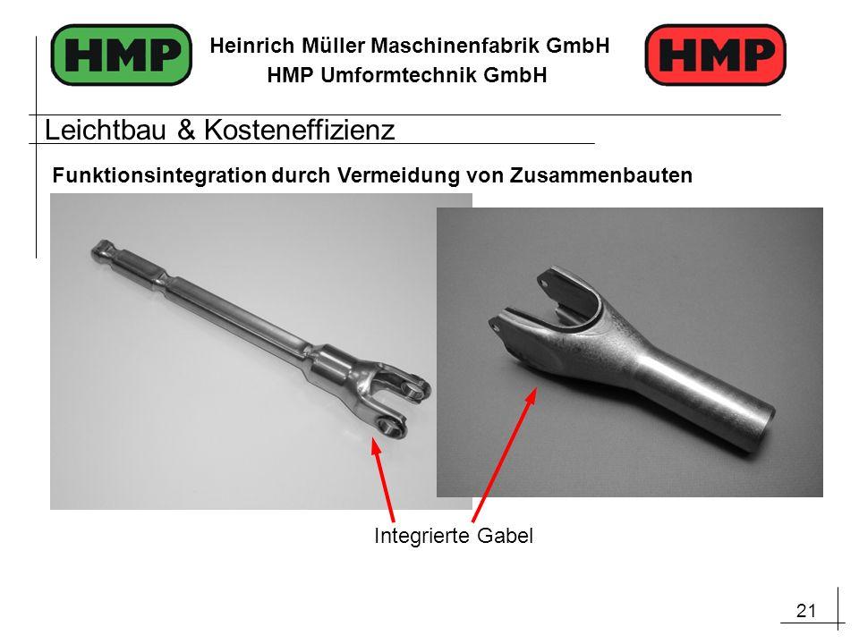 21 Heinrich Müller Maschinenfabrik GmbH HMP Umformtechnik GmbH Integrierte Gabel Leichtbau & Kosteneffizienz Funktionsintegration durch Vermeidung von
