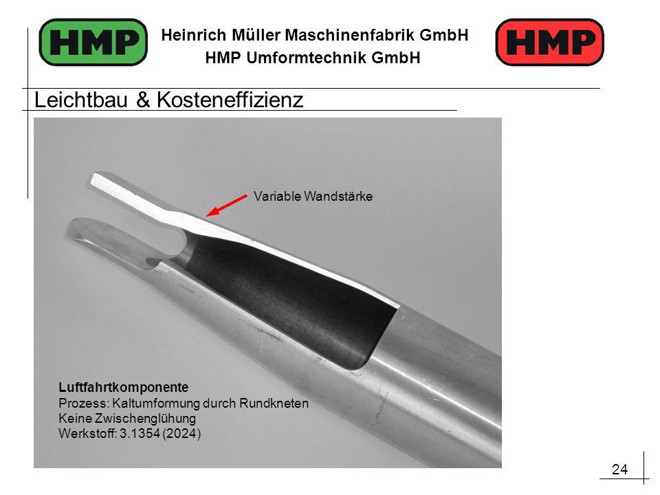 24 Heinrich Müller Maschinenfabrik GmbH HMP Umformtechnik GmbH Luftfahrtkomponente Prozess: Kaltumformung durch Rundkneten Keine Zwischenglühung Werks