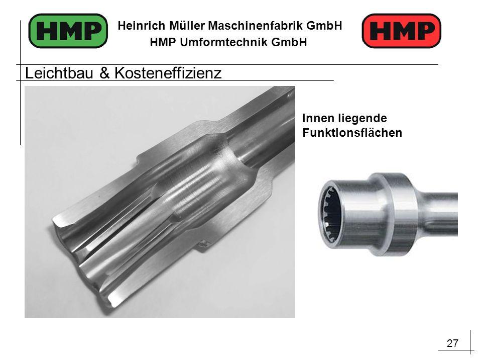 27 Heinrich Müller Maschinenfabrik GmbH HMP Umformtechnik GmbH Innen liegende Funktionsflächen Leichtbau & Kosteneffizienz