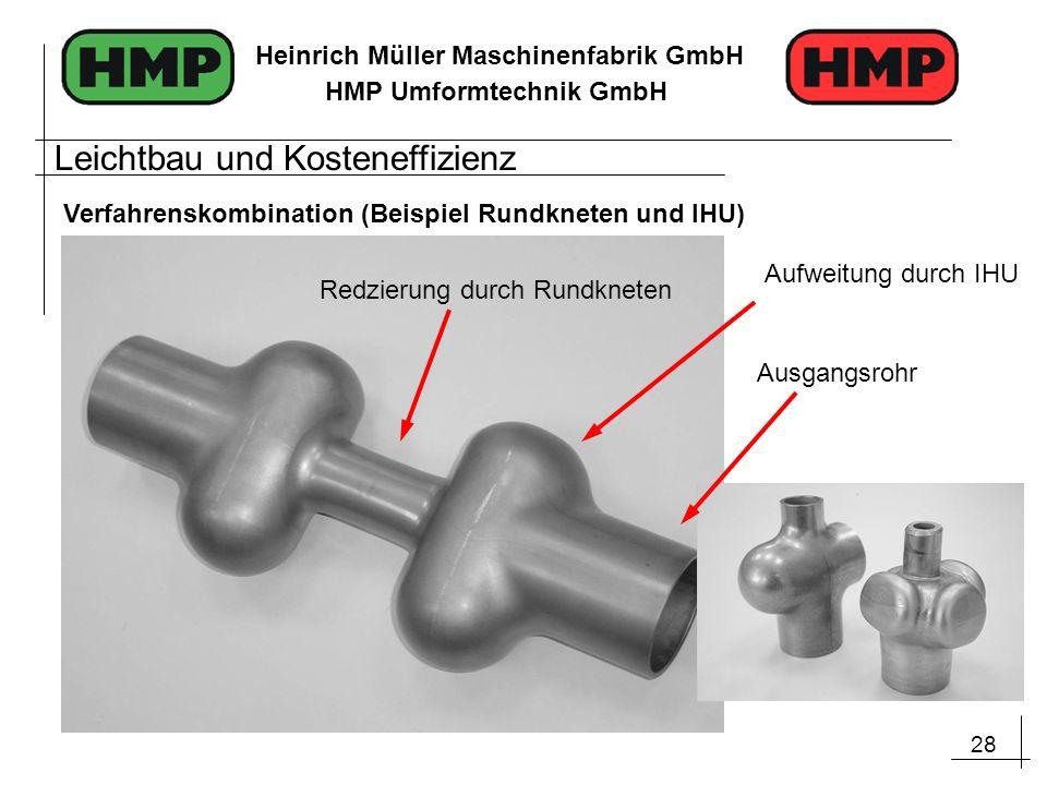 28 Heinrich Müller Maschinenfabrik GmbH HMP Umformtechnik GmbH Redzierung durch Rundkneten Aufweitung durch IHU Ausgangsrohr Leichtbau und Kosteneffiz