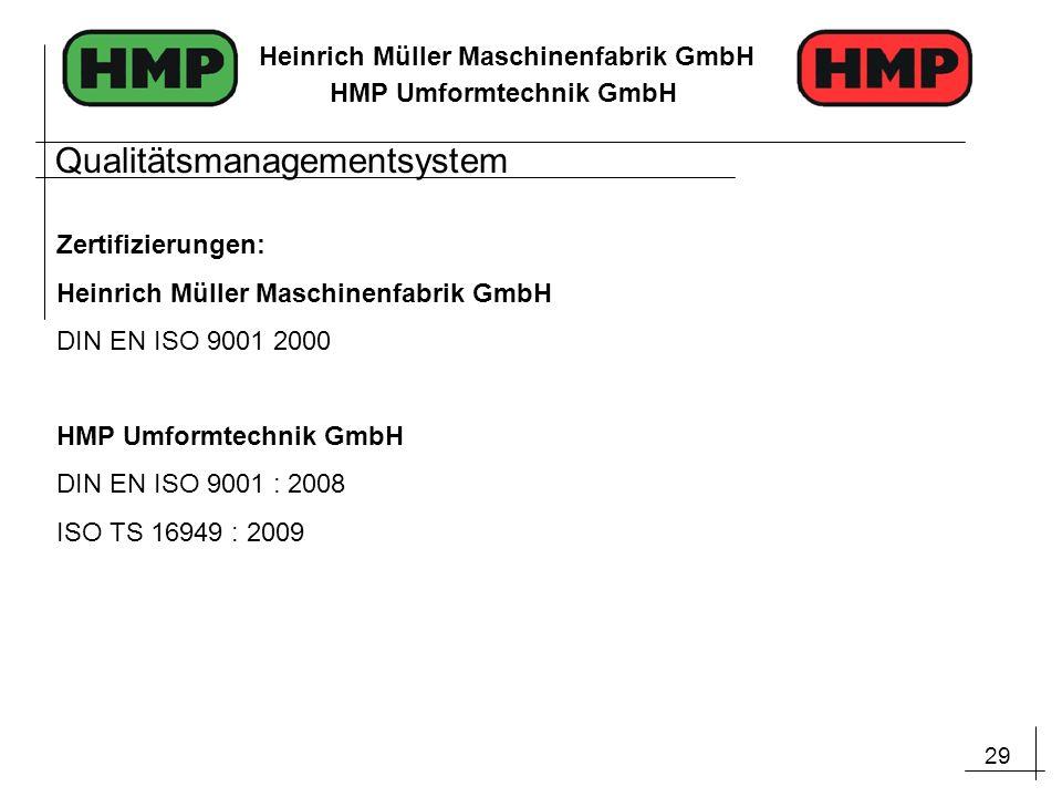 29 Heinrich Müller Maschinenfabrik GmbH HMP Umformtechnik GmbH Zertifizierungen: Heinrich Müller Maschinenfabrik GmbH DIN EN ISO 9001 2000 HMP Umformt