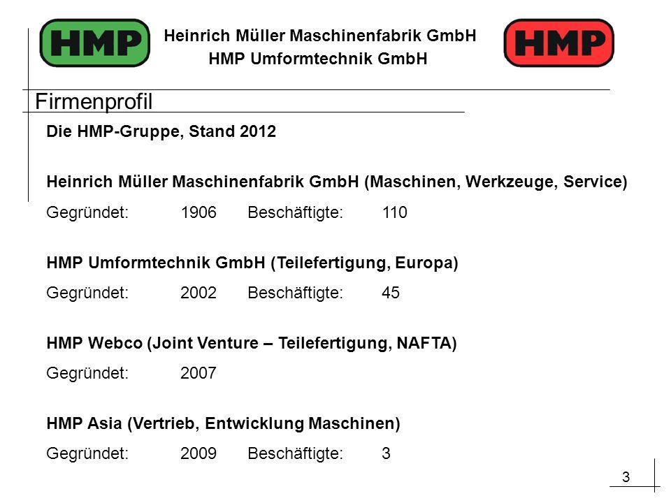 3 Heinrich Müller Maschinenfabrik GmbH HMP Umformtechnik GmbH Die HMP-Gruppe, Stand 2012 Heinrich Müller Maschinenfabrik GmbH (Maschinen, Werkzeuge, S