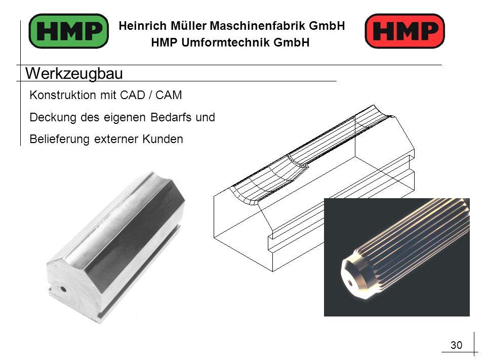 30 Heinrich Müller Maschinenfabrik GmbH HMP Umformtechnik GmbH Werkzeugbau Konstruktion mit CAD / CAM Deckung des eigenen Bedarfs und Belieferung exte