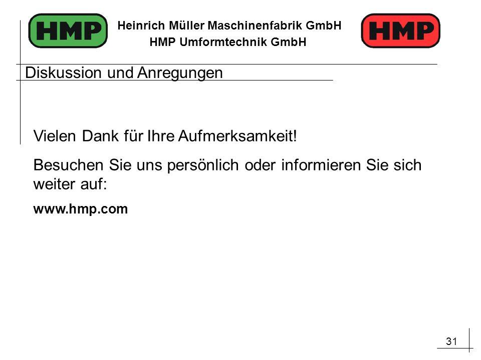31 Heinrich Müller Maschinenfabrik GmbH HMP Umformtechnik GmbH Diskussion und Anregungen Vielen Dank für Ihre Aufmerksamkeit! Besuchen Sie uns persönl