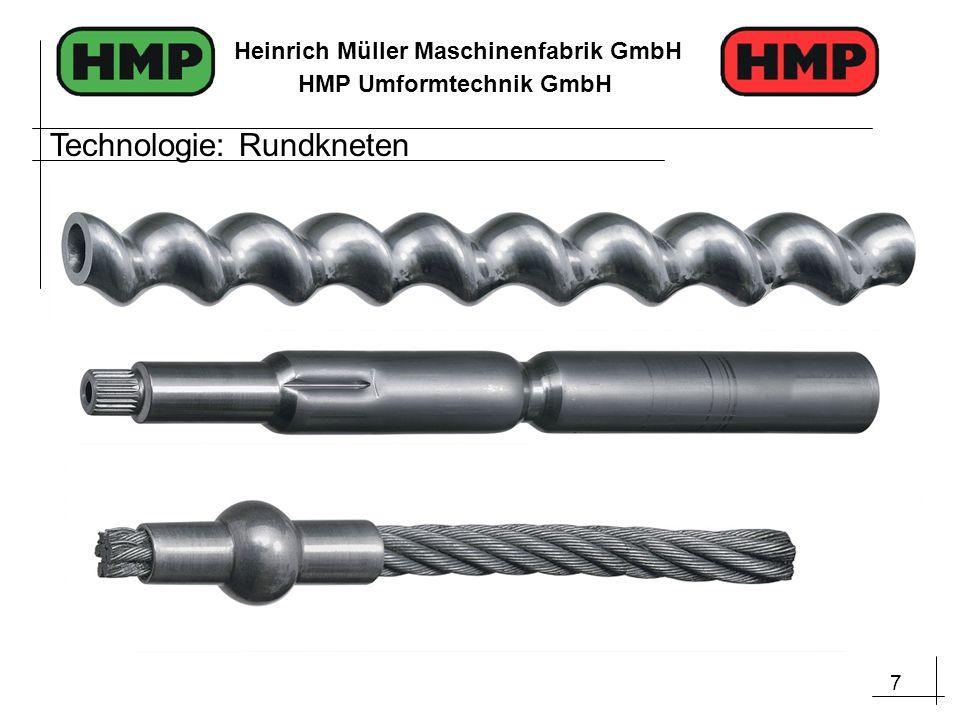 28 Heinrich Müller Maschinenfabrik GmbH HMP Umformtechnik GmbH Redzierung durch Rundkneten Aufweitung durch IHU Ausgangsrohr Leichtbau und Kosteneffizienz Verfahrenskombination (Beispiel Rundkneten und IHU)