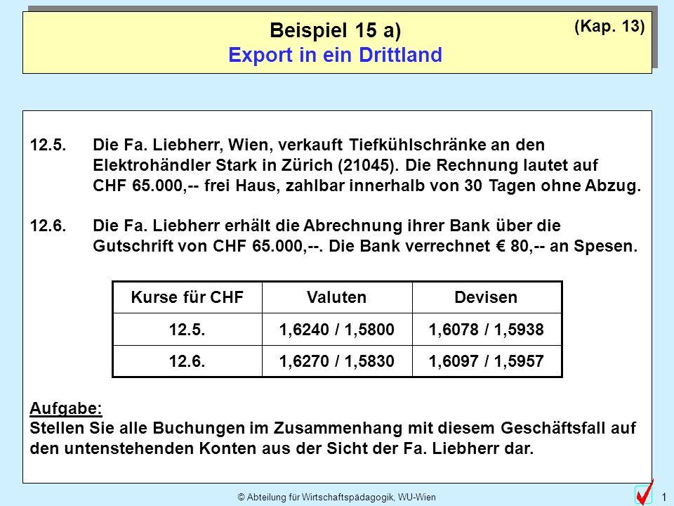 © Abteilung für Wirtschaftspädagogik, WU-Wien 1 Beispiel 15 a) Export in ein Drittland (Kap.