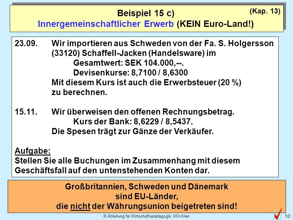 © Abteilung für Wirtschaftspädagogik, WU-Wien 10 Beispiel 15 c) Innergemeinschaftlicher Erwerb (KEIN Euro-Land!) (Kap.