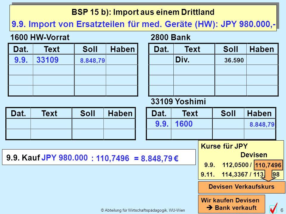 © Abteilung für Wirtschaftspädagogik, WU-Wien 6 Dat.TextSollHabenDat.TextSollHaben Dat.TextSollHabenDat.TextSollHaben 9.9.