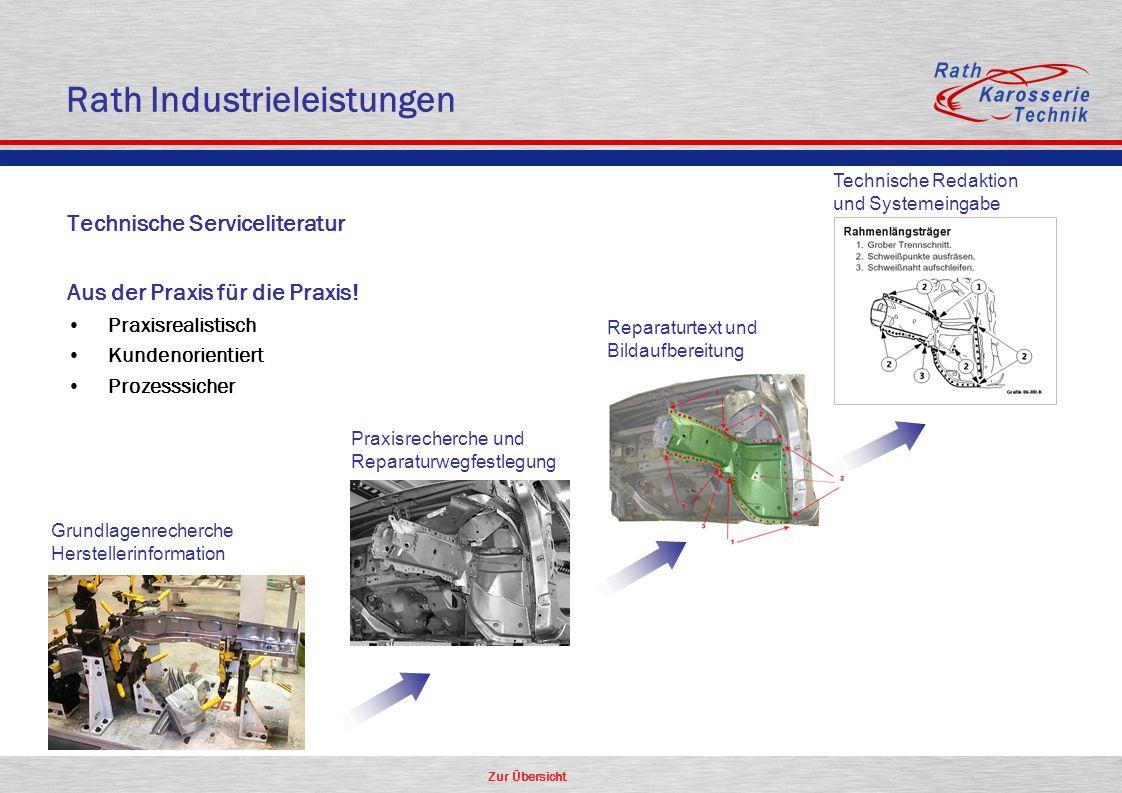 Zur Übersicht Rath Industrieleistungen Grundlagenrecherche Herstellerinformation Praxisrecherche und Reparaturwegfestlegung Reparaturtext und Bildaufb