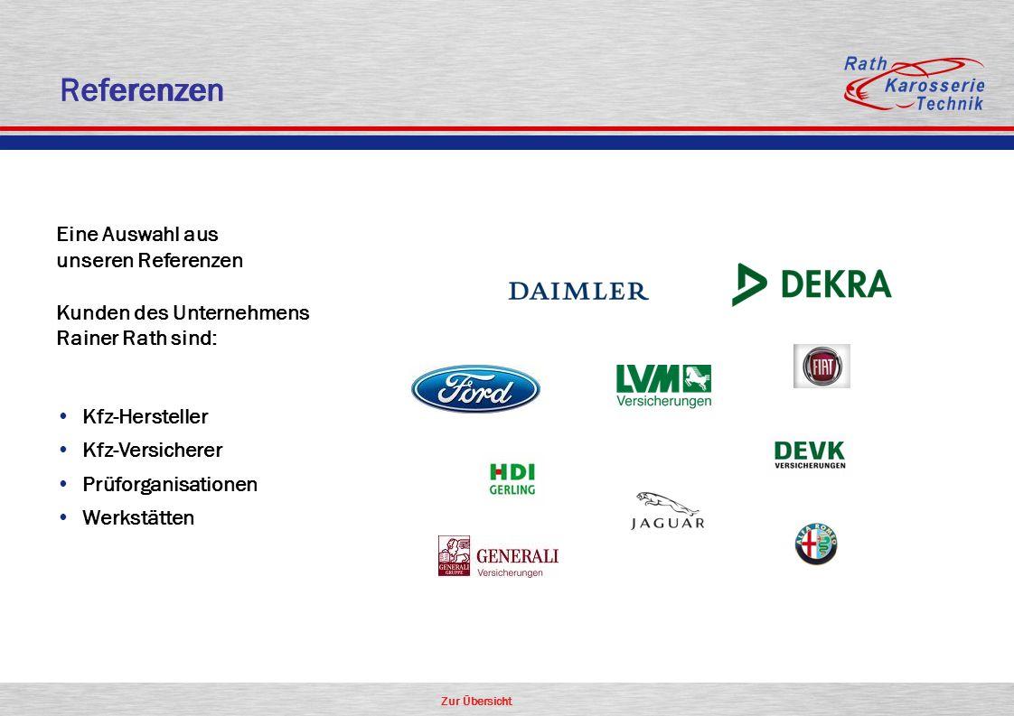 Zur Übersicht Eine Auswahl aus unseren Referenzen Kunden des Unternehmens Rainer Rath sind: Kfz-Hersteller Kfz-Versicherer Prüforganisationen Werkstätten Referenzen