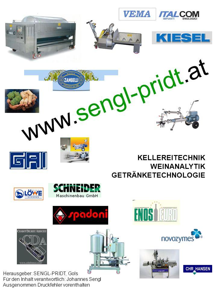 www.sengl-pridt.at KELLEREITECHNIK WEINANALYTIK GETRÄNKETECHNOLOGIE Herausgeber: SENGL-PRIDT, Gols Für den Inhalt verantwortlich: Johannes Sengl Ausge