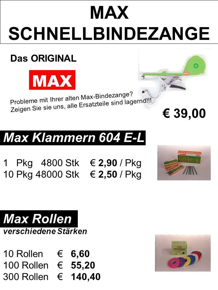 MAX SCHNELLBINDEZANGE Das ORIGINAL MAX Probleme mit Ihrer alten Max-Bindezange? Zeigen Sie sie uns, alle Ersatzteile sind lagernd!!! Max Klammern 604