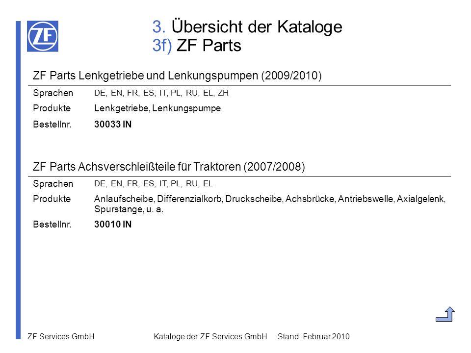 ZF Services GmbH Kataloge der ZF Services GmbH Stand: Februar 2010 3. Übersicht der Kataloge 3f) ZF Parts ZF Parts Lenkgetriebe und Lenkungspumpen (20