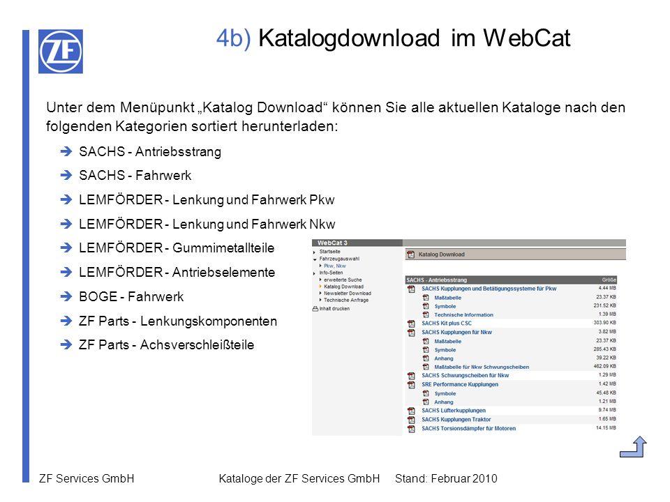 ZF Services GmbH Kataloge der ZF Services GmbH Stand: Februar 2010 4b) Katalogdownload im WebCat Unter dem Menüpunkt Katalog Download können Sie alle