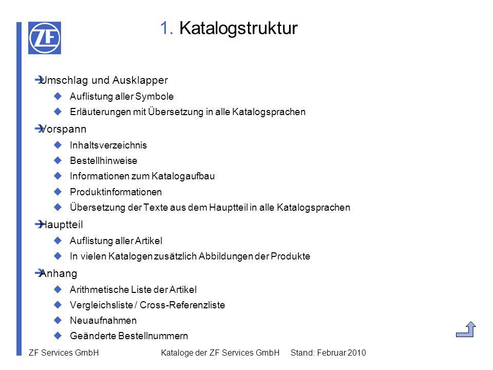ZF Services GmbH Kataloge der ZF Services GmbH Stand: Februar 2010 1. Katalogstruktur Umschlag und Ausklapper Auflistung aller Symbole Erläuterungen m