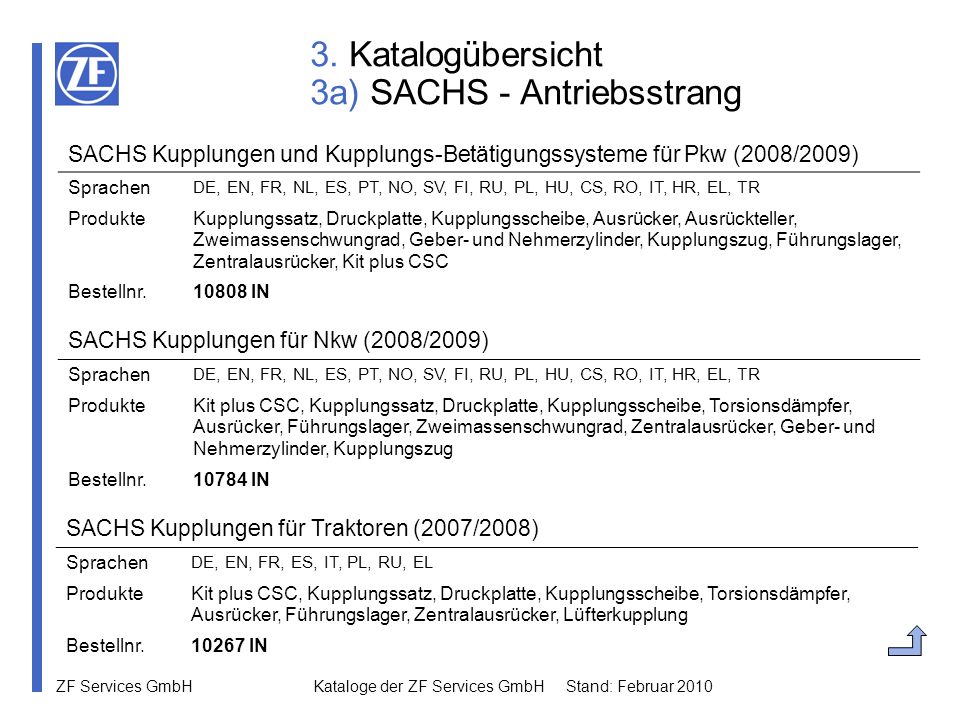 ZF Services GmbH Kataloge der ZF Services GmbH Stand: Februar 2010 4b) Katalogdownload im WebCat Unter dem Menüpunkt Katalog Download können Sie alle aktuellen Kataloge nach den folgenden Kategorien sortiert herunterladen: SACHS - Antriebsstrang SACHS - Fahrwerk LEMFÖRDER - Lenkung und Fahrwerk Pkw LEMFÖRDER - Lenkung und Fahrwerk Nkw LEMFÖRDER - Gummimetallteile LEMFÖRDER - Antriebselemente BOGE - Fahrwerk ZF Parts - Lenkungskomponenten ZF Parts - Achsverschleißteile