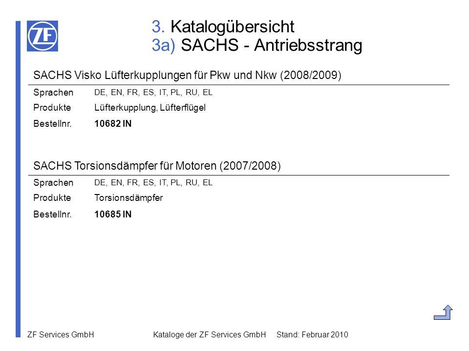 ZF Services GmbH Kataloge der ZF Services GmbH Stand: Februar 2010 3. Katalogübersicht 3a) SACHS - Antriebsstrang SACHS Torsionsdämpfer für Motoren (2