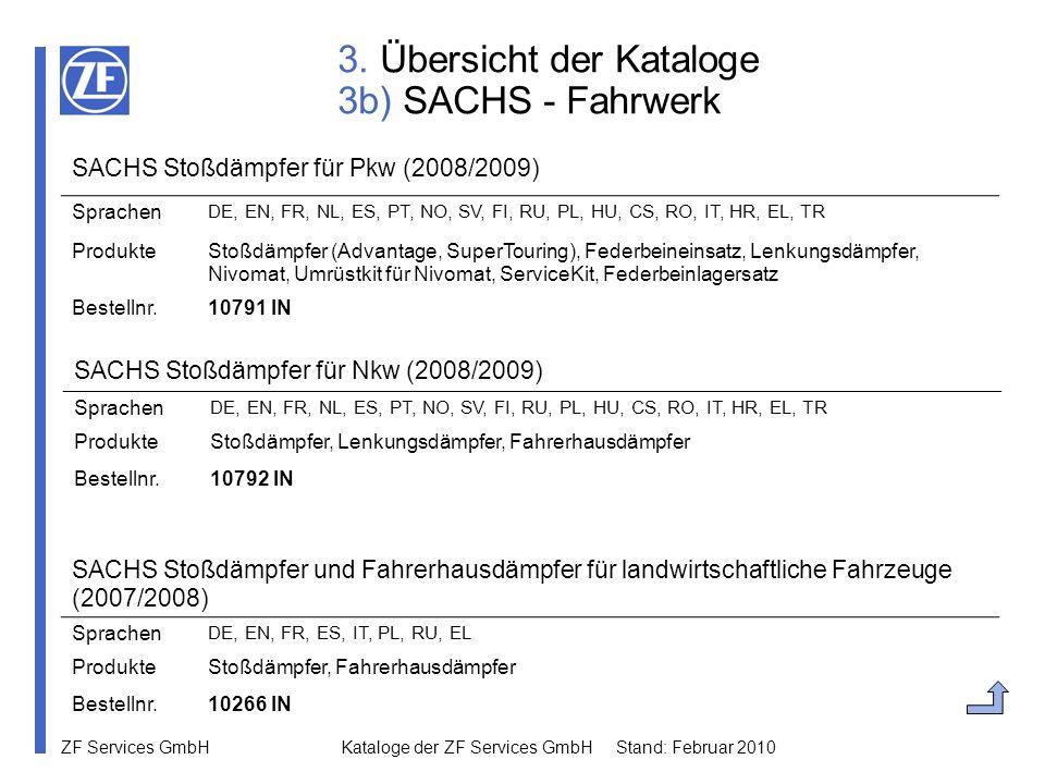 ZF Services GmbH Kataloge der ZF Services GmbH Stand: Februar 2010 3. Übersicht der Kataloge 3b) SACHS - Fahrwerk SACHS Stoßdämpfer für Nkw (2008/2009