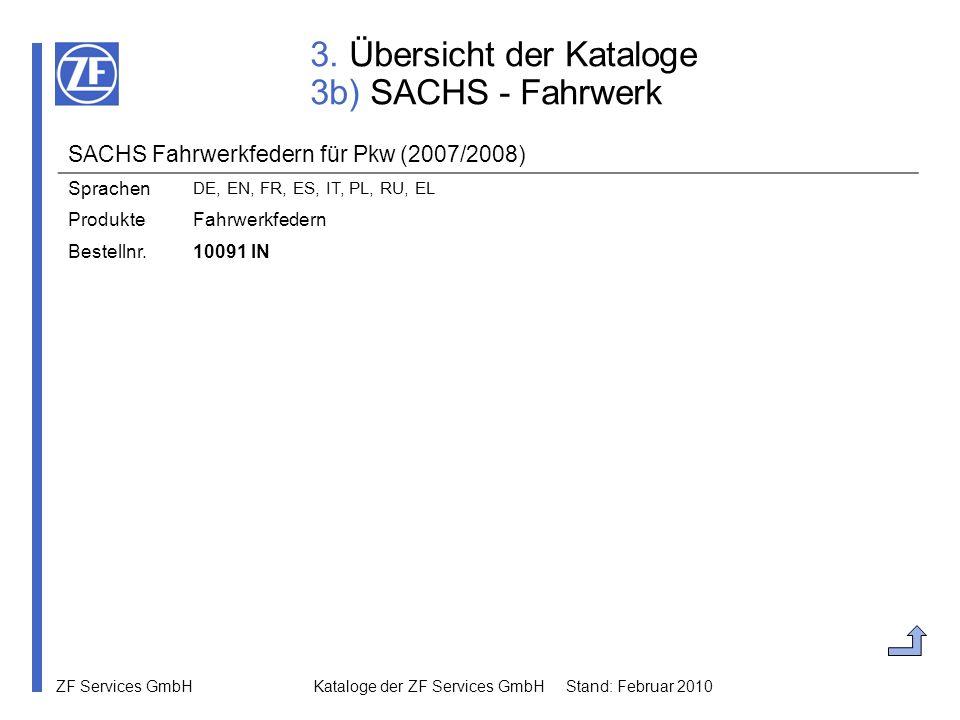 ZF Services GmbH Kataloge der ZF Services GmbH Stand: Februar 2010 3. Übersicht der Kataloge 3b) SACHS - Fahrwerk SACHS Fahrwerkfedern für Pkw (2007/2