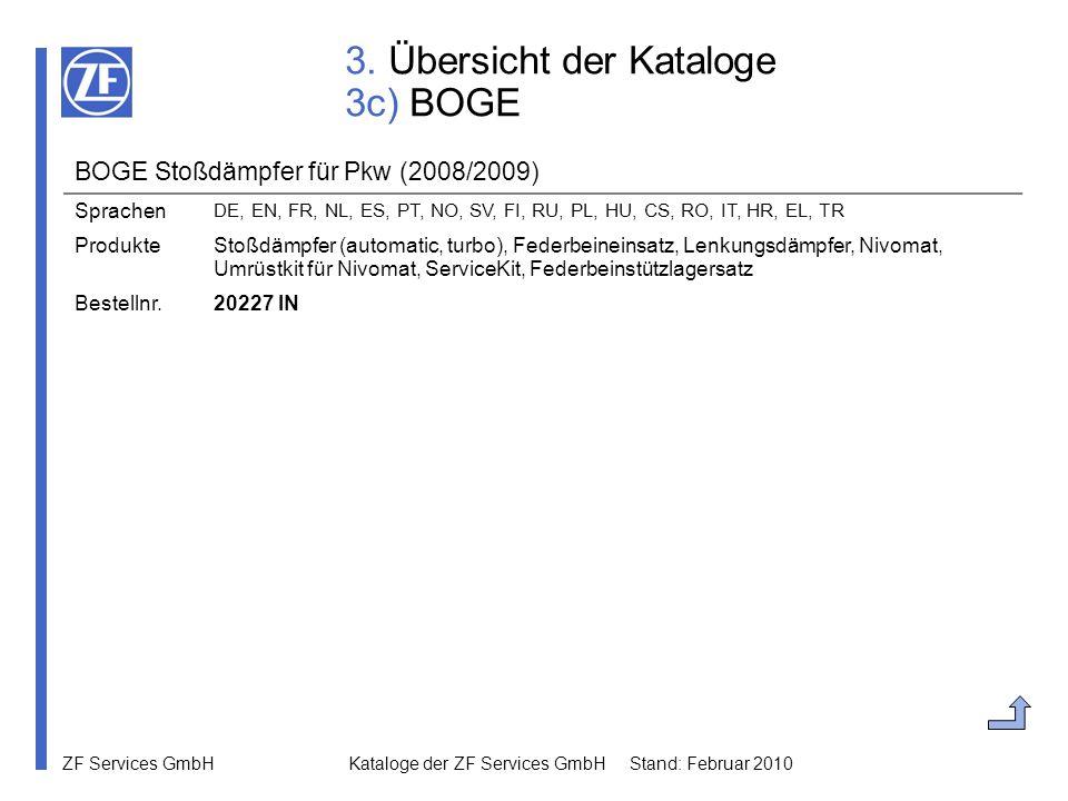 ZF Services GmbH Kataloge der ZF Services GmbH Stand: Februar 2010 3. Übersicht der Kataloge 3c) BOGE BOGE Stoßdämpfer für Pkw (2008/2009) Sprachen DE