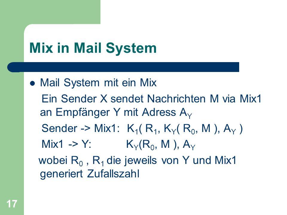 17 Mix in Mail System Mail System mit ein Mix Ein Sender X sendet Nachrichten M via Mix1 an Empfänger Y mit Adress A Y Sender -> Mix1: K 1 ( R 1, K Y