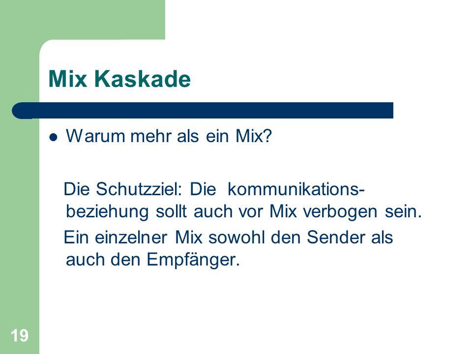 19 Mix Kaskade Warum mehr als ein Mix? Die Schutzziel: Die kommunikations- beziehung sollt auch vor Mix verbogen sein. Ein einzelner Mix sowohl den Se