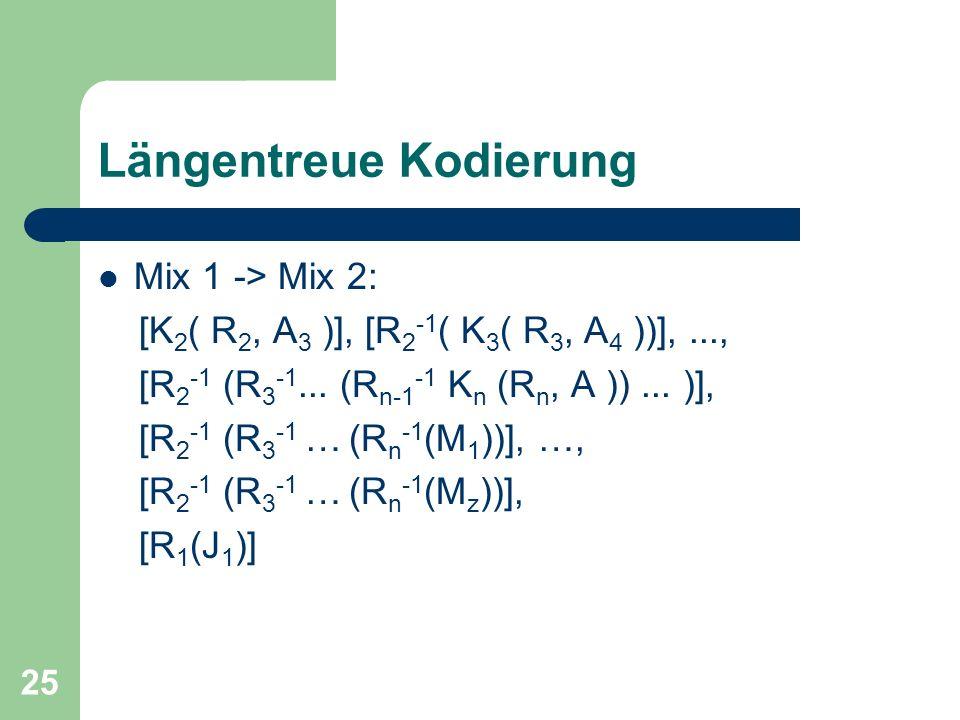 25 Längentreue Kodierung Mix 1 -> Mix 2: [K 2 ( R 2, A 3 )], [R 2 -1 ( K 3 ( R 3, A 4 ))],..., [R 2 -1 (R 3 -1... (R n-1 -1 K n (R n, A ))... )], [R 2