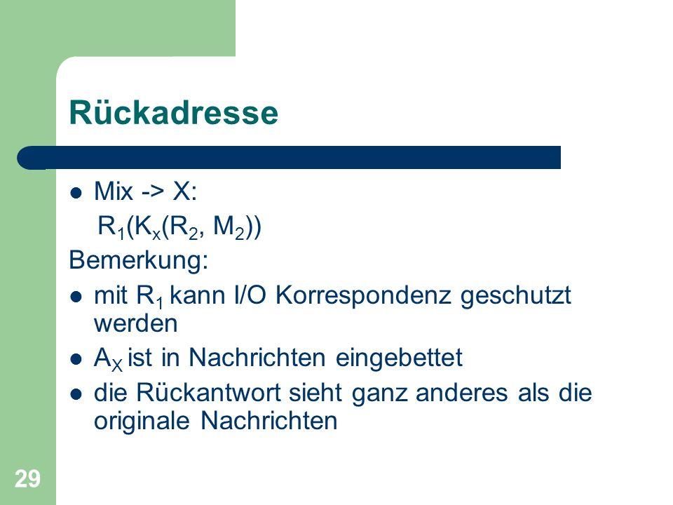 29 Rückadresse Mix -> X: R 1 (K x (R 2, M 2 )) Bemerkung: mit R 1 kann I/O Korrespondenz geschutzt werden A X ist in Nachrichten eingebettet die Rücka