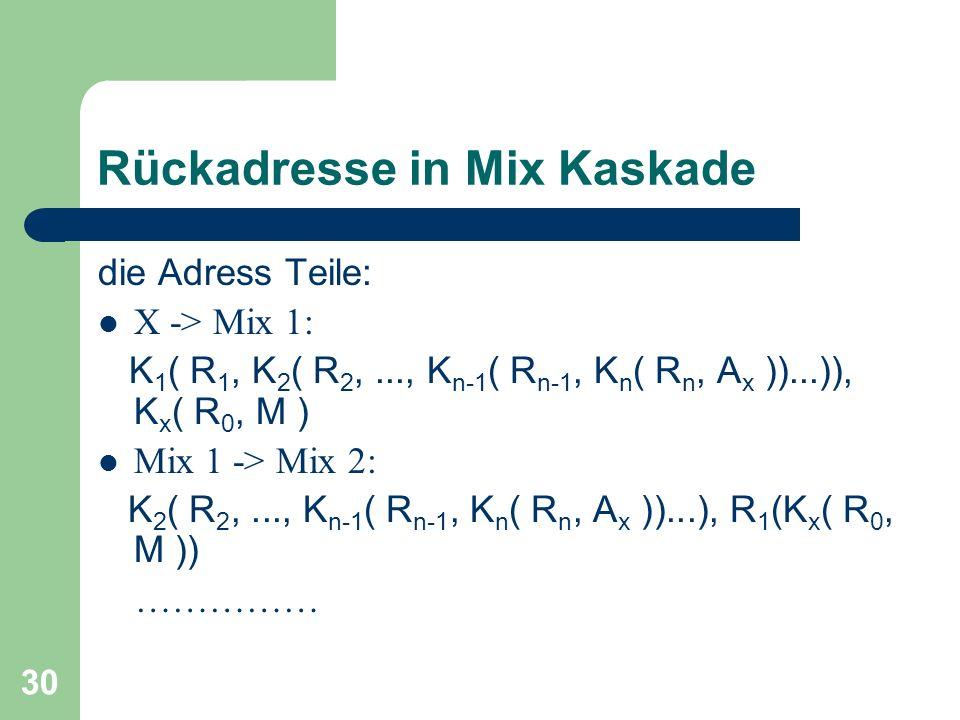30 Rückadresse in Mix Kaskade die Adress Teile: X -> Mix 1: K 1 ( R 1, K 2 ( R 2,..., K n-1 ( R n-1, K n ( R n, A x ))...)), K x ( R 0, M ) Mix 1 -> M