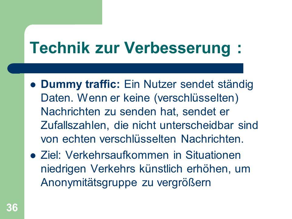 36 Technik zur Verbesserung : Dummy traffic: Ein Nutzer sendet ständig Daten. Wenn er keine (verschlüsselten) Nachrichten zu senden hat, sendet er Zuf