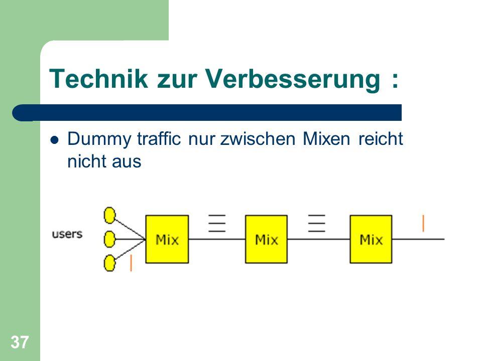 37 Technik zur Verbesserung : Dummy traffic nur zwischen Mixen reicht nicht aus