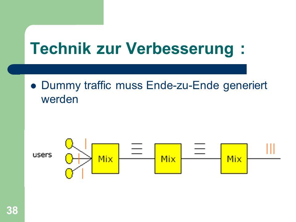 38 Technik zur Verbesserung : Dummy traffic muss Ende-zu-Ende generiert werden