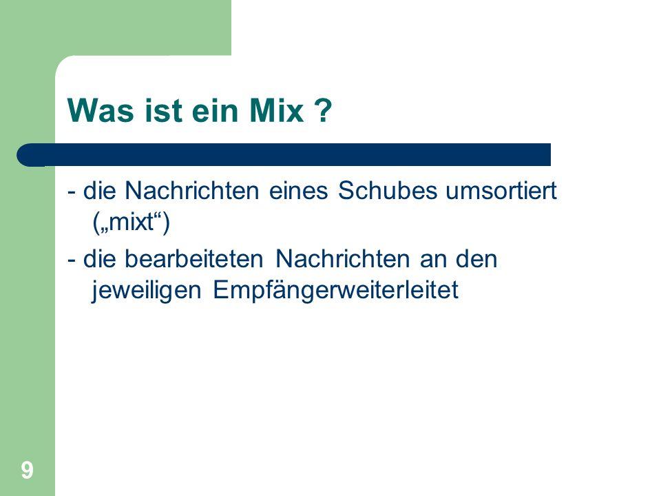 9 Was ist ein Mix ? - die Nachrichten eines Schubes umsortiert (mixt) - die bearbeiteten Nachrichten an den jeweiligen Empfängerweiterleitet