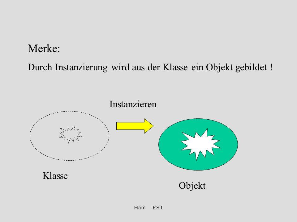 Ham EST Merke: Durch Instanzierung wird aus der Klasse ein Objekt gebildet .