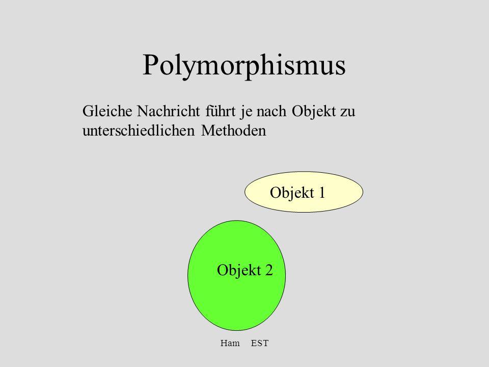 Ham EST Polymorphismus Gleiche Nachricht führt je nach Objekt zu unterschiedlichen Methoden Objekt 1 Objekt 2