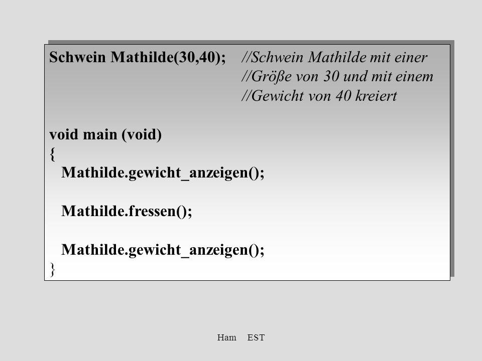 Ham EST Schwein Mathilde(30,40);//Schwein Mathilde mit einer //Größe von 30 und mit einem //Gewicht von 40 kreiert void main (void) { Mathilde.gewicht_anzeigen(); Mathilde.fressen(); Mathilde.gewicht_anzeigen(); } Schwein Mathilde(30,40);//Schwein Mathilde mit einer //Größe von 30 und mit einem //Gewicht von 40 kreiert void main (void) { Mathilde.gewicht_anzeigen(); Mathilde.fressen(); Mathilde.gewicht_anzeigen(); }