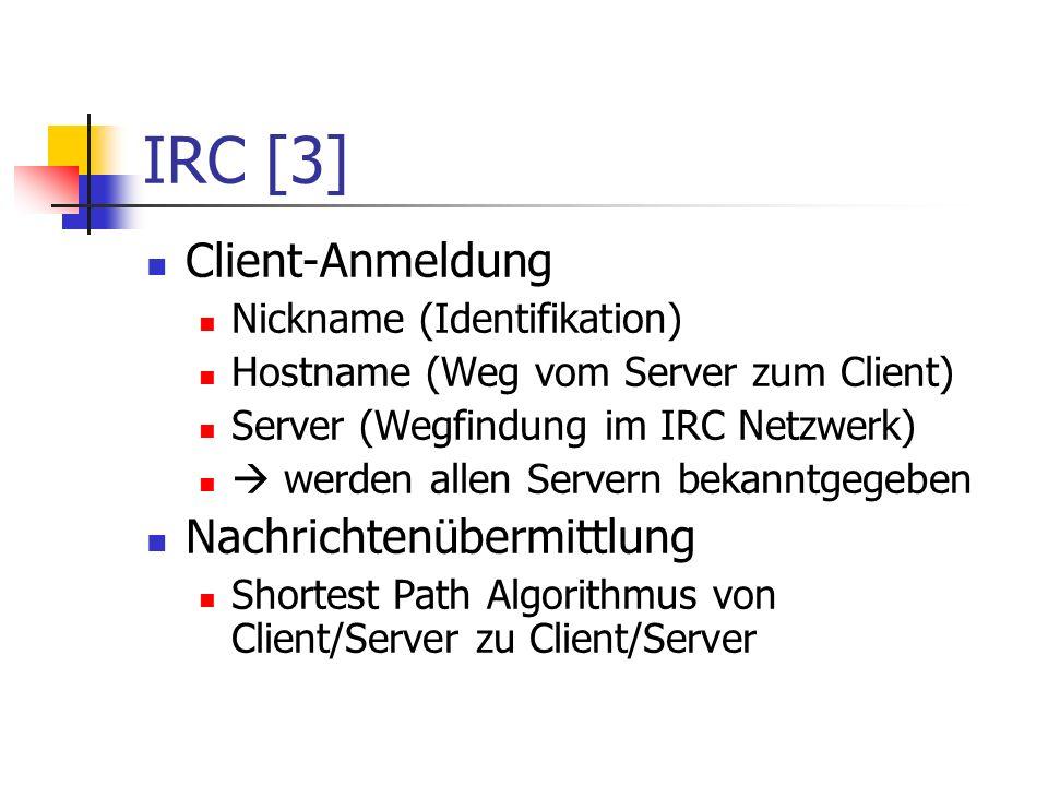 IRC [3] Client-Anmeldung Nickname (Identifikation) Hostname (Weg vom Server zum Client) Server (Wegfindung im IRC Netzwerk) werden allen Servern bekanntgegeben Nachrichtenübermittlung Shortest Path Algorithmus von Client/Server zu Client/Server