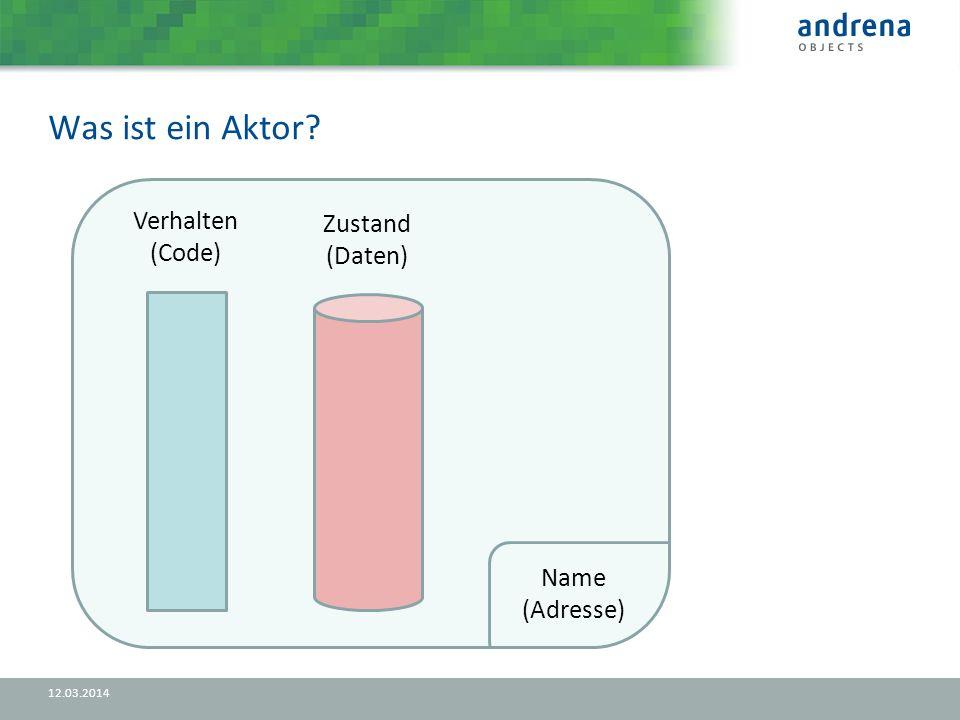 Was ist ein Aktor 12.03.2014 Verhalten (Code) Zustand (Daten) Name (Adresse)