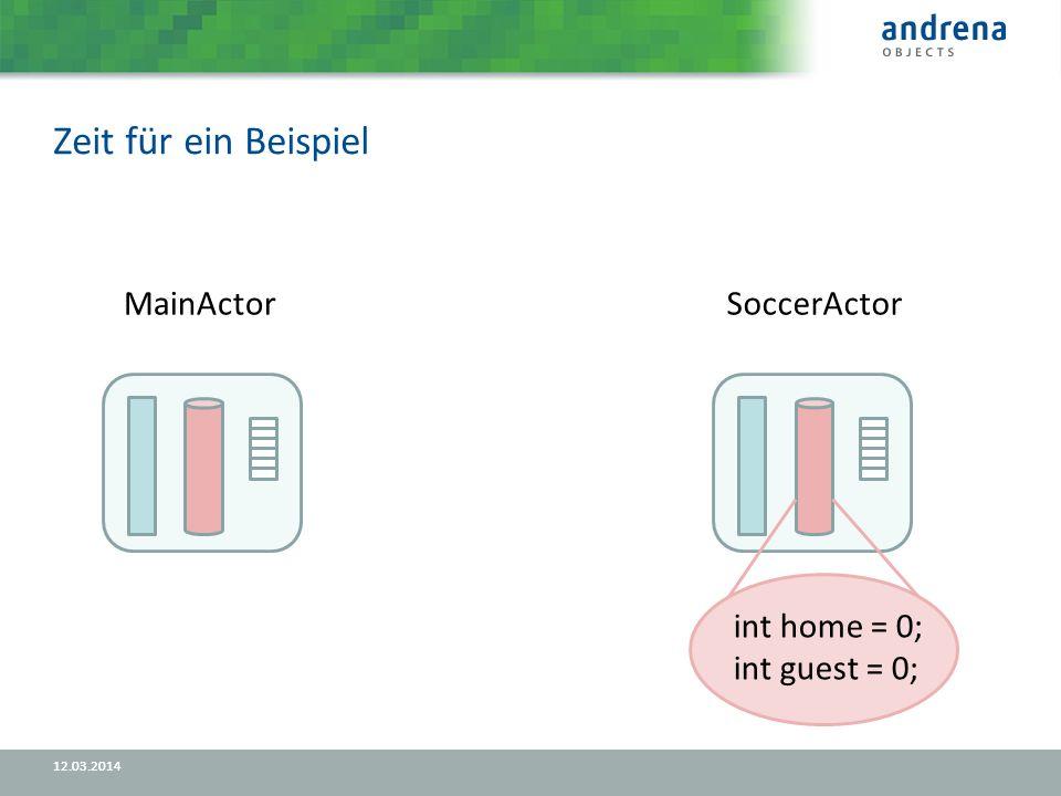 Zeit für ein Beispiel 12.03.2014 MainActorSoccerActor int home = 0; int guest = 0;