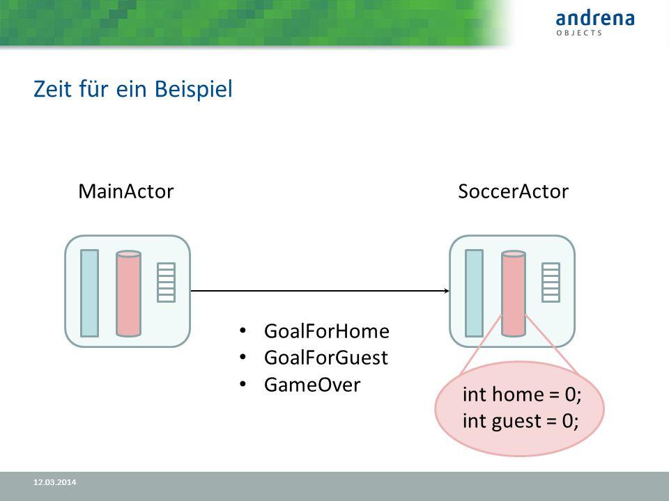 Zeit für ein Beispiel 12.03.2014 MainActorSoccerActor GoalForHome GoalForGuest GameOver int home = 0; int guest = 0;