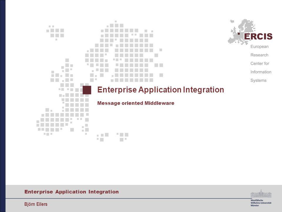 22 Enterprise Application Integration Björn Eilers Java Message Service Nachricht an Topic senden TopicConnectionFactory tcf = (TopicConnectionFactory) ctx.lookup( ConnectionFactory ); TopicConnection tc = tcf.createTopicConnection(); TopicSession ts = tc.createTopicSession(false, Session.AUTO_ACKNOWLEDGE); tc.start(); Topic topic = (Topic) ctx.lookup( topic/BeispielTopic ); TopicPublisher publisher = ts.createPublisher(topic); MapMessage message = ts.createMapMessage(); //...