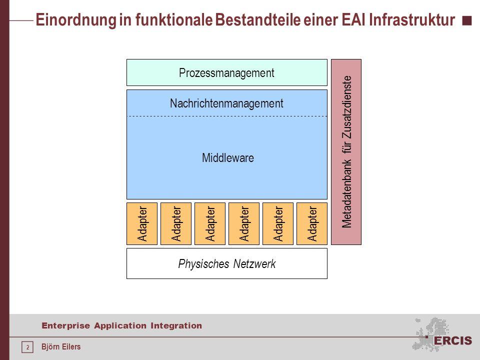 3 Enterprise Application Integration Björn Eilers Kommunikation zwischen IS in Unternehmen Remote Procedure Calls Interface-basierte Middleware CORBA EJB DCOM+ Web Services Nachrichten Kopplung eng lose