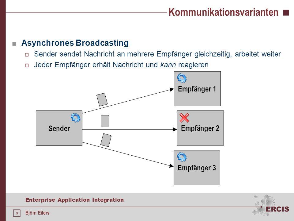 20 Enterprise Application Integration Björn Eilers Java Message Service Implementierung: Grundlegendes Gerüst für Clients try { Properties p = System.getProperties(); p.setProperty( java.naming.factory.initial , org.jnp.interfaces.NamingContextFactory ); p.setProperty( java.naming.factory.url.pkgs , org.jboss.naming:org.jnp.interfaces ); p.setProperty( java.naming.provider.url , localhost ); InitialContext ctx = new InitialContext(); //...