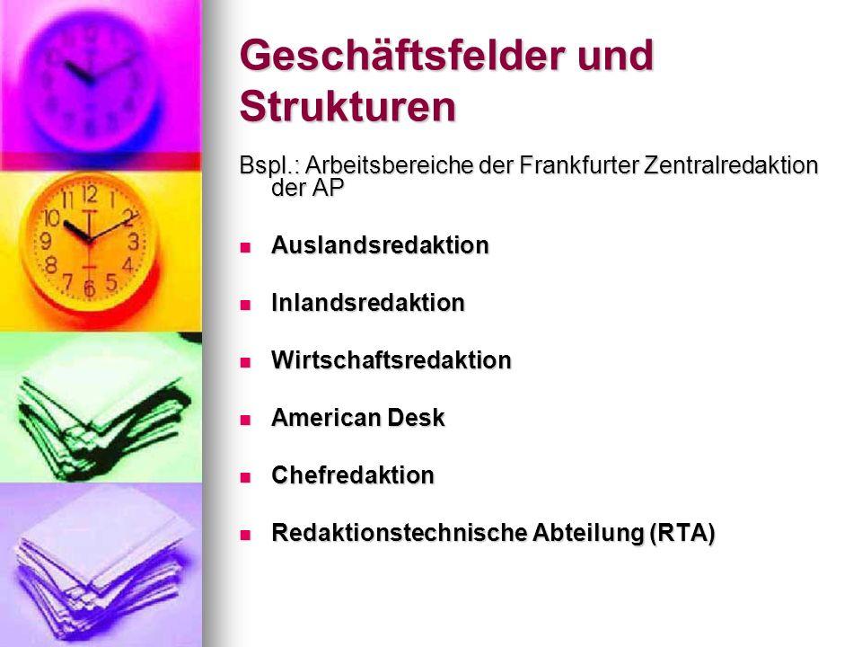 Geschäftsfelder und Strukturen Bspl.: Arbeitsbereiche der Frankfurter Zentralredaktion der AP Auslandsredaktion Auslandsredaktion Inlandsredaktion Inl