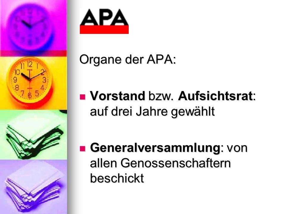 Organe der APA: Vorstand bzw. Aufsichtsrat: auf drei Jahre gewählt Vorstand bzw. Aufsichtsrat: auf drei Jahre gewählt Generalversammlung: von allen Ge