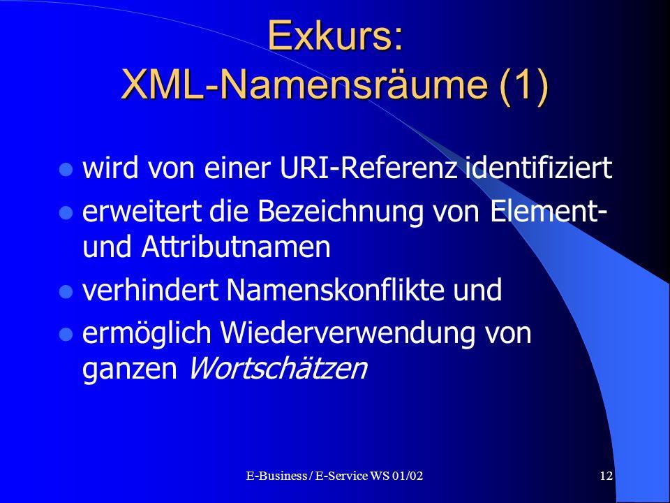 E-Business / E-Service WS 01/0212 Exkurs: XML-Namensräume (1) wird von einer URI-Referenz identifiziert erweitert die Bezeichnung von Element- und Att