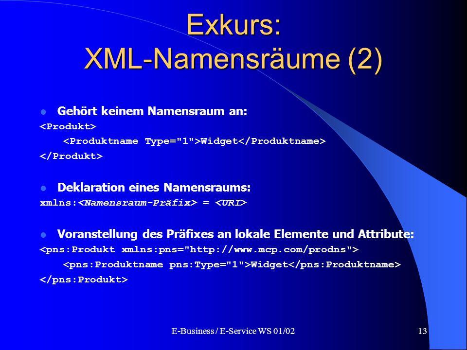 E-Business / E-Service WS 01/0213 Exkurs: XML-Namensräume (2) Gehört keinem Namensraum an: Widget Deklaration eines Namensraums: xmlns: = Voranstellun